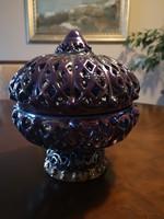 Kuriózum, gyönyörű Zsolnay lila eozin ománi bonbonier áttört, hibátlan