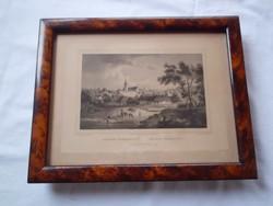 Rohbock, Ludwig: Maros-Vásárhely. Acélmetszet 1856 Üvegezett keretben