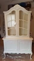 Chippendél barok fehér vitrines szekrény  120x195x45cm