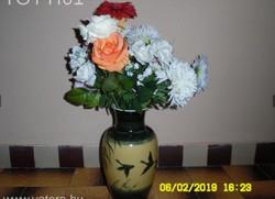 Hatalmas madár jelenetes, jelzett porcelán váza!