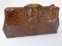 Antik krokodil bőr táska ezüstözött kapoccsal