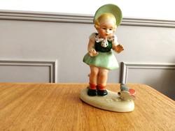 Bock Wallendorf porcelán lányka figura pillangóval