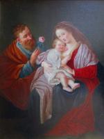 ILLCOE FE 1778 SZENT CSALÁD KIS JÉZUS  ANTIK KÉP OLAJ FESTMÉNY XVIII. SZÁZAD FA TÁBLA + KERET
