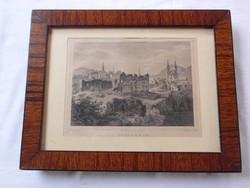 Rohbock, Ludwig: Udvarhely Acélmetszet 1856 Üvegezett keretben