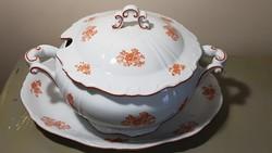 Gyönyörű antik Zsolnay barokk fazonú leveses és pecsenyés tál