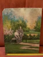 Vegyes technikájú festmény, antik fénykép-előddel, méret jelezve!