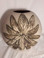 BOD ÉVA különleges mintázatú kerámia váza - jelzett