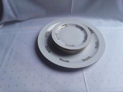 Nagyon szép porcelán süteményes készlet, arany dekorral / 2201