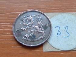 FINNORSZÁG 5 PENNIA 1938 33.