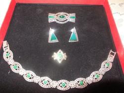 Antik ezüst ékköves garnitúra