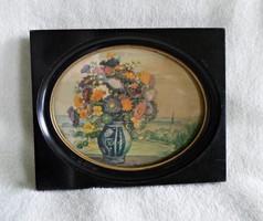 Kb. 100 éves jelzett kis méretű akvarell, eredeti bakelit keretében