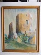 Bujáki : Csesznek vár akvarell 1943
