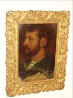 Férfi portré aranyozott keretben festmény olaj kartonra festve