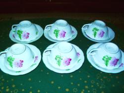 Herendi őszirózsás teás csészék tállal 6 db hibátlan