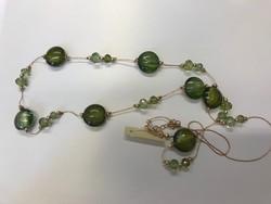 Vintage muránói jellegű zöld üveg és kristály gyöngyös nyaklánc.