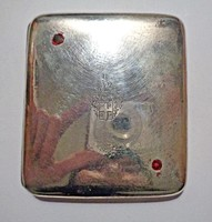 Nemesi címeres 2 piros köves ezüst cigarettatárca
