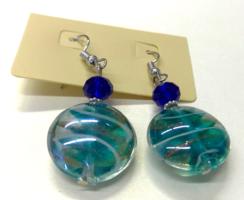Türkízkék muránói jellegű üveg és kristály olasz fülbevaló új