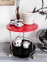 Vintage,art deco,piros,fekete gurulós bár asztal