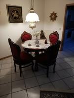Barok rokoko étkezőasztal 4 székkel