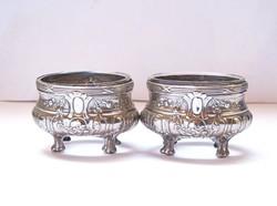 Német,üvegbetétes ezüst fűszertartó pár.