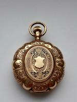 Antik 14 karátos tömör arany női zsebóra (jelzett)