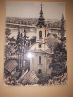 Conrád Gyula akvarell  Esztergom