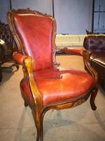 Antik chesterfield faragott barokk bőr fotel!