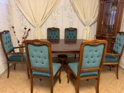 Neobarokk étkező asztal 6 db kék bársony székkel
