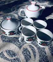 Csodaszép kézzel festett Hollóházi kávéskészlet
