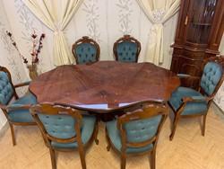 Neobarokk étkező asztal 6 db kék színű székkel