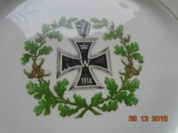 1914  Első Birodalmi Vaskereszttel,díszes gót betűs felirattal,antik német tányér-24,5 cm
