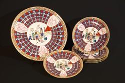 Herendi O'Sullivan Süteményeskészlet 6 személyes Keleti Kínai Japán Tányér Tál Süteményes Készlet OS