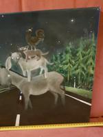Brémai muzsikusok, alternatív befejezéssel... szignós modern festmény, 40x40