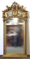 0U716 Antik festménnyel díszített aranyozott tükör