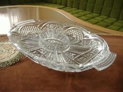 Osztott ovális alakú üveg, (kristály?) kínáló tál,