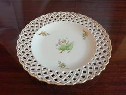 Herendi hecsedli, csipkebogyó mintás áttört kínáló tál, fali tányér