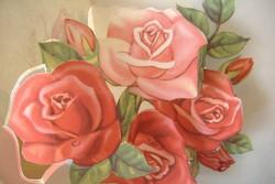 Rózsás széthajthatós lap: születés és névnapra küldve.