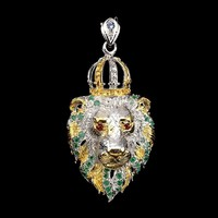 Leo Valodi 75mm Rubin Tanzanit Krom Diopszid 925 Ezust Medal