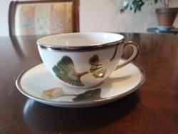 """Gyönyörű, Zsolnay """"Ősz""""/""""Ginkós"""" arany-platina teáscsésze aljjal, hibátlan, új"""