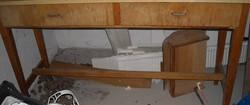 Konyha asztal, fa, keskeny, két fiókkal