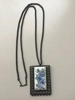 Régi orosz ezüstözött kézzel festett tűzzománc nyaklánc