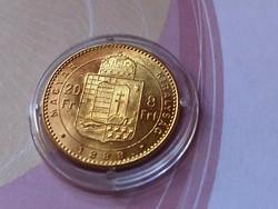 1888 arany 8 Forint 6,45 gramm 0,900 gyönyörű állapotban,kapszulában