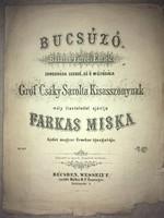 Antik kotta!/1860/. Bucsúzó. Balaton-Füredi Emlék Zongorára szerzé és ő méltósága Gróf Csáky Sarolta