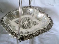 Angol ezüstözött jelzett  asztalközép kínáló gyümölcskosár