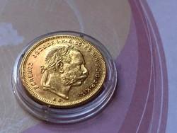 1876 arany 8 Forint 6,45 gramm 0,900 gyönyörű állapotban,kapszulában