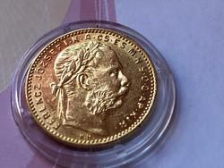 1889 arany 8 Forint 6,45 gramm 0,900 gyönyörű állapotban,kapszulában
