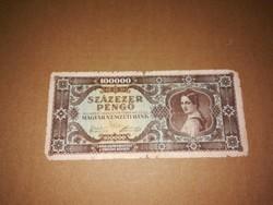 Százezer Pengős, régi bankjegy  1945-ből .