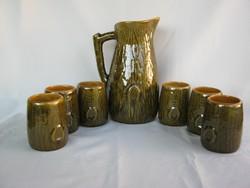 Magyarszombatfai kerámia készlet kancsó 6 pohárral