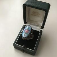 Régi orosz ezüstözött kézzel festett tűzzománc gyűrű