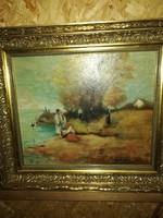 Festmény életkép olaj karton